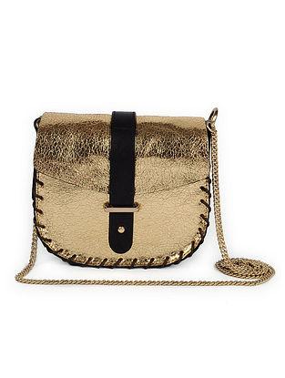 Gold Genuine Leather Sling Bag