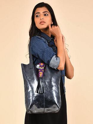 Gun Metal Genuine Leather Tote Bag