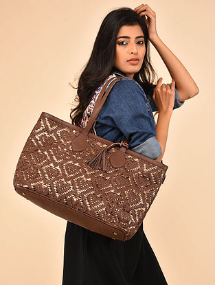 Copper Brown Genuine Leather Tote Bag