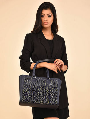 Navy Genuine Leather Tote Bag