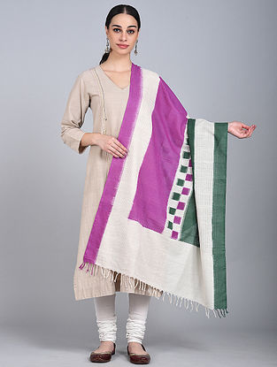Purple-Green Ikat Handloom Cotton Dupatta