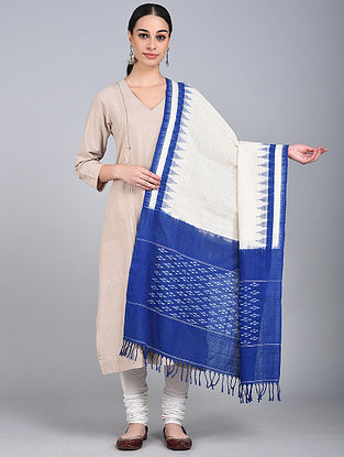 Blue-White Ikat Handloom Cotton Dupatta