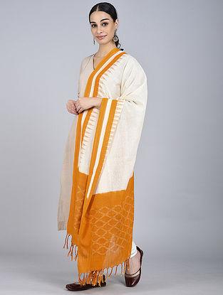 Mustard-Ivory Ikat Handloom Cotton Dupatta