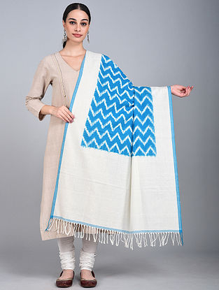 White-Blue Ikat Handloom Cotton Dupatta