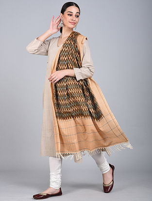 Beige-Blue Ikat Handloom Cotton Dupatta