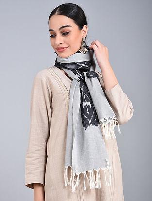 Grey-Black Ikat Handloom Cotton Stole