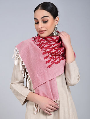 Pink-Red Ikat Handloom Cotton Stole