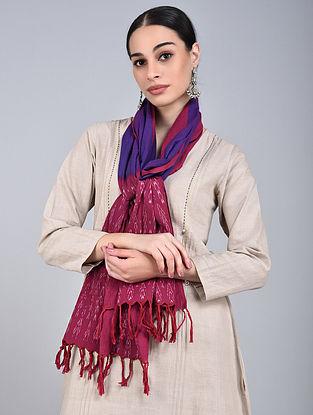 Pink-Purple Ikat Handloom Cotton Stole
