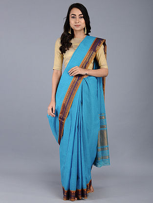 Blue Narayanpet Cotton Saree with Zari and Woven Border