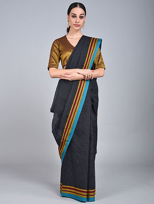 Black-Golden Handwoven Narayanpet Cotton Saree