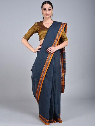 Blue-Yellow Handwoven Narayanpet Cotton Saree
