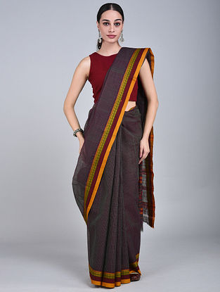 Maroon-Yellow Handwoven Narayanpet Cotton Saree