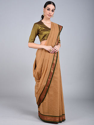 Beige-Green Handwoven Narayanpet Cotton Saree