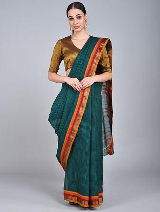 Green-Orange Handwoven Narayanpet Cotton Saree