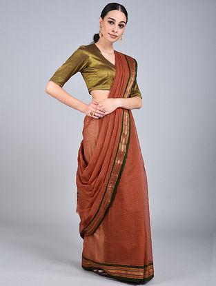 Brown-Green Handwoven Narayanpet Cotton Saree