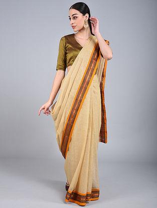 Beige-Mustard Handwoven Narayanpet Cotton Saree