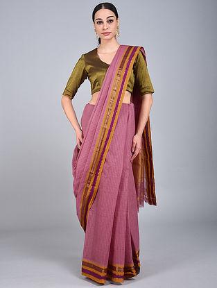 Mauve-Brown Handwoven Narayanpet Cotton Saree