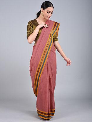 Red-Mustard Handwoven Narayanpet Cotton Saree