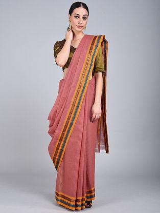 Red Handwoven Narayanpet Cotton Saree