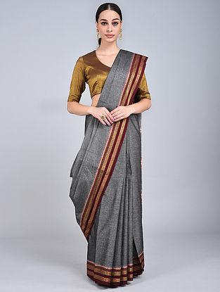 Grey-Brown Handwoven Narayanpet Cotton Saree