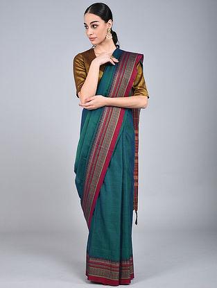 Blue-Red Handwoven Narayanpet Cotton Saree