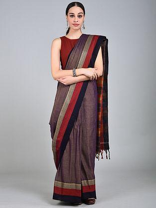 Purple-Red Handwoven Narayanpet Cotton Saree