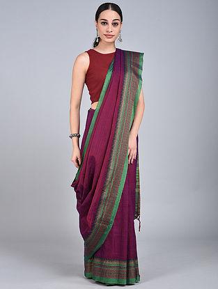 Pink-Green Handwoven Narayanpet Cotton Saree