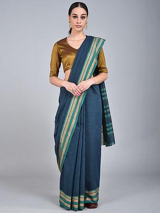 Blue-Green Handwoven Narayanpet Cotton Saree