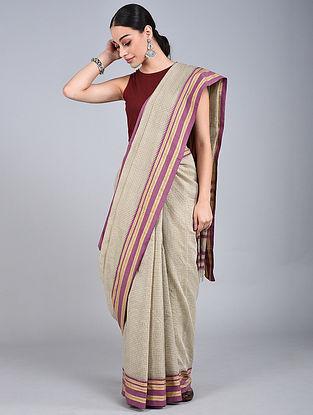 Ivory-Mauve Handwoven Narayanpet Cotton Saree