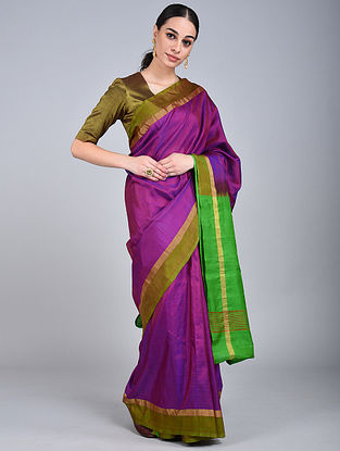 Purple-Green Handwoven Uppada Silk Saree with Zari Border