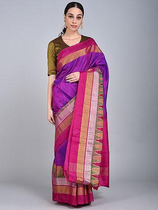 Purple-Pink Handwoven Ikat Uppada Silk Saree