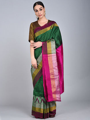 Green-Pink Handwoven Ikat Uppada Silk Saree