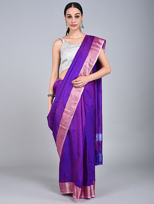 Blue-Pink Handwoven Uppada Silk Saree with Zari Border