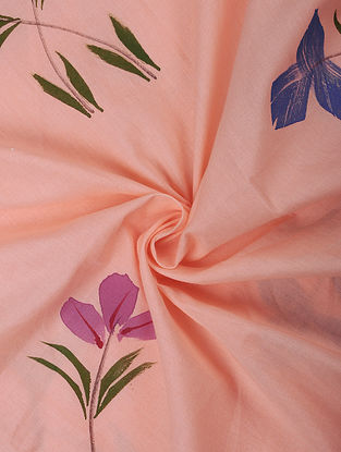 Pink Hand Painted Cotton Fabric