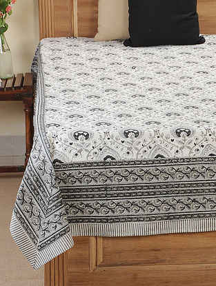 Grey Block-printed Cotton Double Bedcover (107in X 85in)