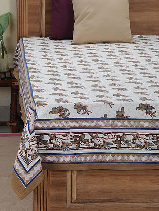 Beige-Brown Block-printed Cotton Double Bed Cover (L:105in, W:85in)