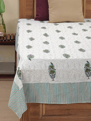 White-Blue Block-printed Cotton Double Bed Cover (109in x 86in)