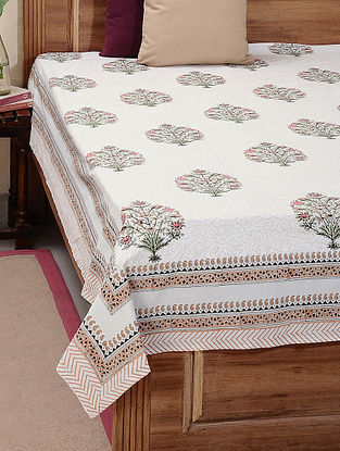 White-Brown Block-printed Cotton Double Bed Cover (L:108in, W:86in)