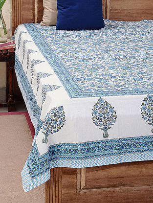Blue-Green Block-printed Cotton Double Bed Cover (L:110in, W:88in)