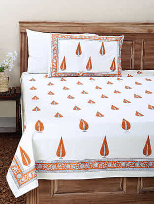 White-Orange Block-printed Cotton Double Bedsheet with Pillow Cover (Set of 3)