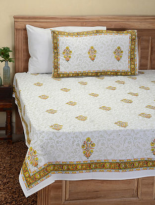Yellow-Green Hand Block-printed Cotton Double Bed Cover with Pillow Covers (Set of 3)