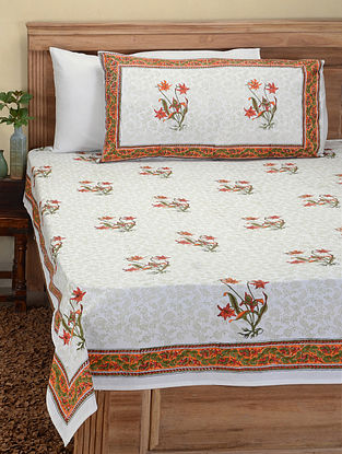 Orange-Green Hand Block-printed Cotton Double Bed Cover with Pillow Covers (Set of 3)