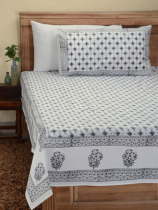 Grey-White Hand Block-printed Cotton Double Bed Cover with Pillow Covers (Set of 3)