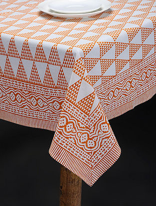 Orange-White Hand Block-printed Cotton Table Cover (86in x 60in)