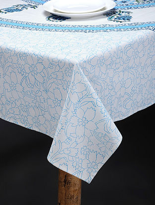 Blue-White Hand Block-printed Cotton Table Cover (86in x 60in)
