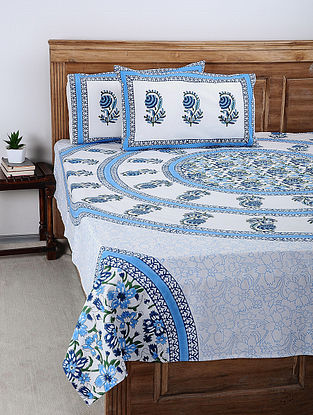 Blue-White Hand Block-printed Cotton Double Bed Cover with Pillow Covers (Set of 3)