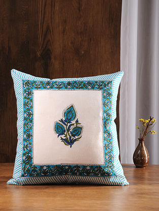 Blue-Green Hand Block-printed Cotton Cushion Cover (18in x 17in)