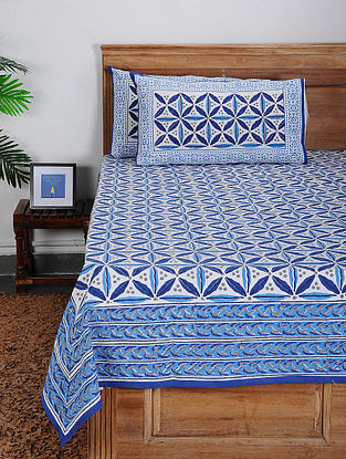 Blue-White Block-printed Cotton Double Bed Cover with Pillow Covers (Set of 3)