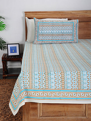 Multicolored Block-printed Cotton Double Bed Cover with Pillow Covers (Set of 3)