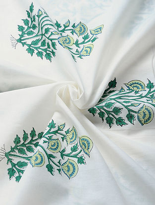 White-Multicolored Hand Block-printed Cotton Fabric